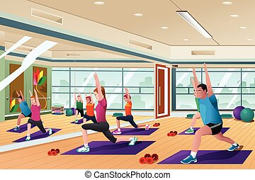 Men and women in a yoga class - A vector illustration of men...