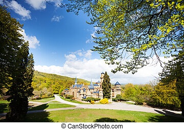 Panorama of Lowenburg castle ruins in Bergpark - Lawn and...
