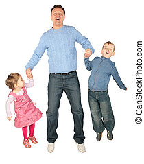 Children to keep for hands of father and jump focus on...