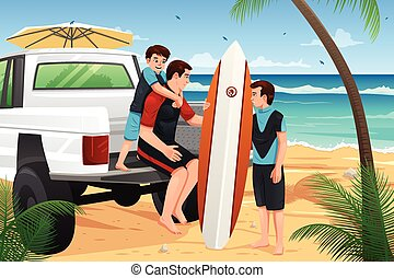 Father son on beach vacation - A vector illustration of...