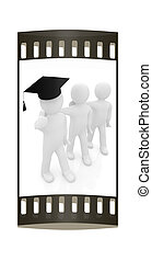 3d man in a graduation Cap with thumb up and 3d mans stand...