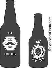 set of vintage craft beer bottles brewery badges - vintage...