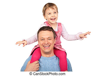 little girl on father`s shoulders