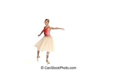 Young girl dancing ballet, on white background, slow motion...