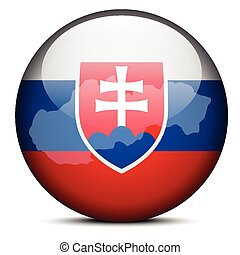 Map on flag button of Slovak Republic - Vector Image - Map...