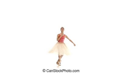 Young girl dances sensual ballet, on white background, slow...