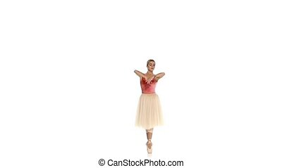 Young ballerina making dance trick, grands battements, on...