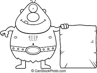 Cartoon Cyclops Sign - A cartoon illustration of a cyclops...