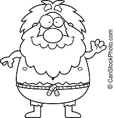 Cartoon Hermit Waving - A cartoon illustration of a hermit...