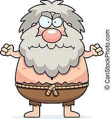 Angry Cartoon Hermit - A cartoon illustration of a hermit...