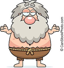 Confused Cartoon Hermit - A cartoon illustration of a hermit...