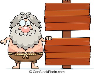 Cartoon Hermit Sign - A cartoon illustration of a hermit...