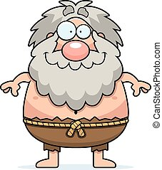 Happy Cartoon Hermit - A cartoon illustration of a hermit...