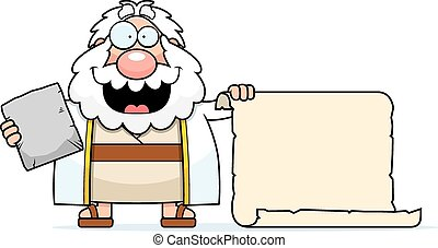 Cartoon Moses Scroll - A cartoon illustration of Moses with...