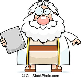 Happy Cartoon Moses - A cartoon illustration of Moses...