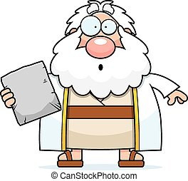 Surprised Cartoon Moses - A cartoon illustration of Moses...