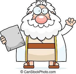 Cartoon Moses Waving - A cartoon illustration of Moses...