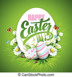 Easter greeting Vector illustration - Easter greeting with...