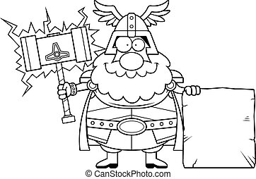 Cartoon Thor Sign - A cartoon illustration of Thor with a...