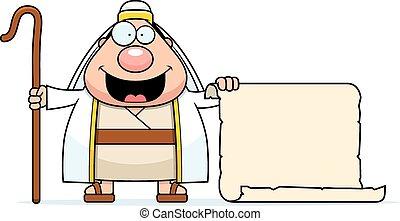 caricatura, pastor, sinal,