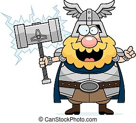Cartoon Thor Idea - A cartoon illustration of Thor with an...
