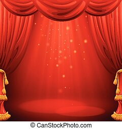 Red curtains. Theater scene. Vector illustration