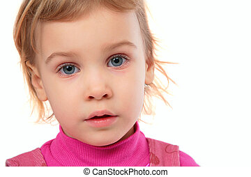 Little girl in pink dress face close-up