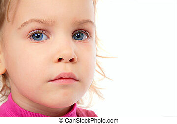 Little girl in pink dress close-up