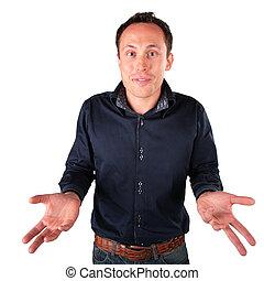 surprised  man makes  helpless gesture
