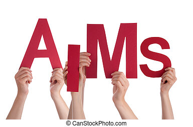 Many People Hands Holding Red Word Aims - Many Caucasian...