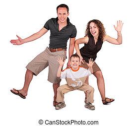 pai, mãe, filho, dança
