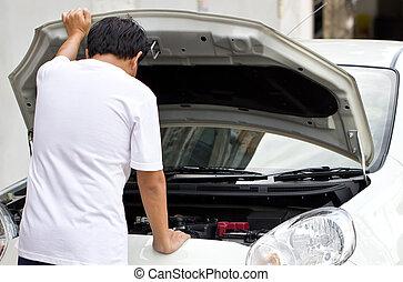 Asian man try to repair a broken car.