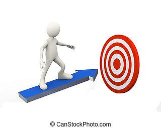 3d man on arrow toward mission target - 3d illustration of...