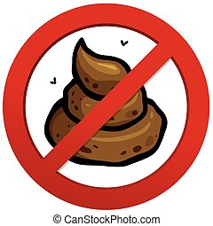 No poop - Vector illustration of No poop sign