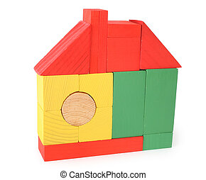 house from toy wooden cubes