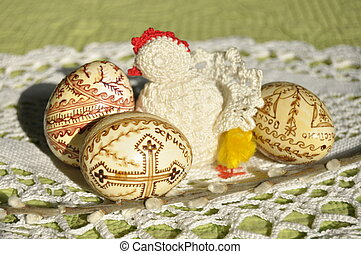 Easter. Symbols of Christmas. Rabbit, chicken and eggs....