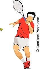 Man Tennis player in red T-shirt.