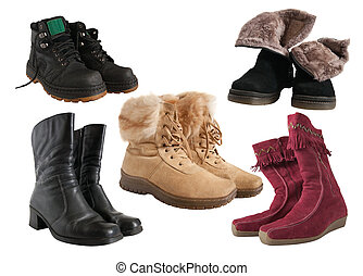 Set of different wintry boots isolated with clipping path