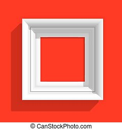Empty Picture Frame on Red Background Vector Illustration -...