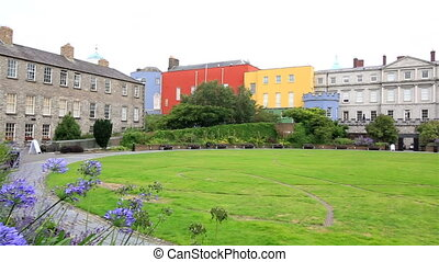 Dublin Castle, seen from park to south, outside the walls. -...