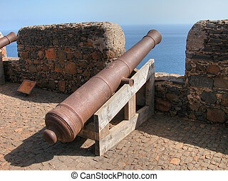 Cannons in Capo Verde. May 2003 - Old Cannons inside the...