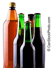 assortment beer bottles isolated on a white background