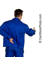 craftsmen lies - a handyman crossed fingers behind his back....