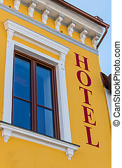 inscription hotel - the inscription on a house hotel.