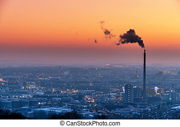 austria, linz, industrial area - smoking chimneys in the...