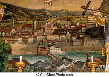 austria, linz view of altlinz on a tapestry in the parish...