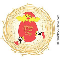 Bird nest and egg for Easter greeting card - Bird nest and...