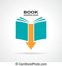 Book download icon - Book download vector icon