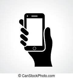 Hand with phone vector illustration