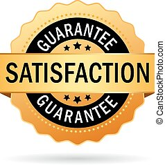 Satisfaction guarantee icon on white background